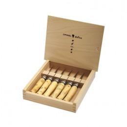 Набор в деревянной коробке из 6 ножей Opinel №7 Nature, нержавеющая сталь, рукоять самшит, гравировка