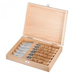 Набор в деревянной коробке из 6 ножей Opinel №8 Animalia, нержавеющая сталь, рукоять дуб, гравировка