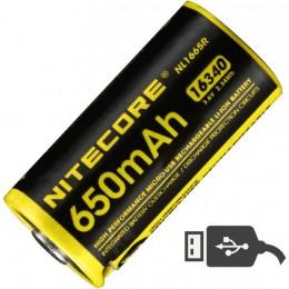Аккумулятор NITECORE NL1665R RCR123/16340 LI-ION 3.7v 650mAH USB 17041