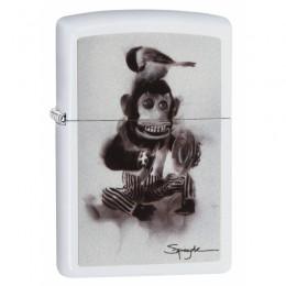Зажигалка ZIPPO Spazuk Monkey With a Bird White Matte