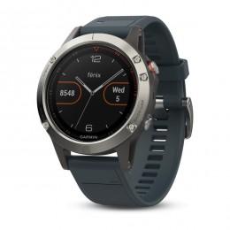 Часы Garmin Fenix 5, серебристые с синим ремешком